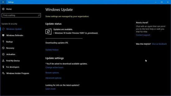 Ошибка при обновление Windows 10 версия 15007 стоит на 0%