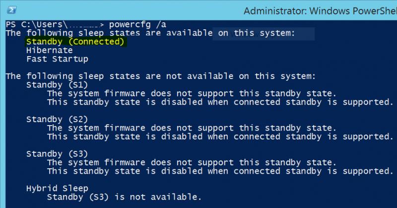 Отключить функцию Connected Standby в Windows 10